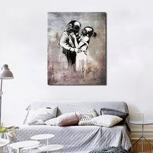 Banksy Kissing Divers Think Tank Graffiti Canvas Painting Print Living Room Home Decoration Modern Wall Art Oil Painting Poster цена