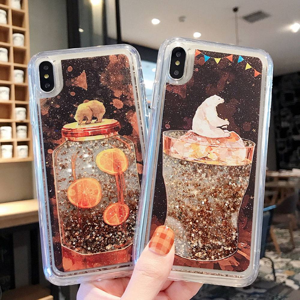 Polar Bear Quicksand Case for iPhone X Xs Max Xr Liquid Glitter Phone Case For iPhone 6 6s 7 8 plus / 6 6s 7 8 Bling Cover #3