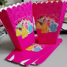 6pcs/set funny Three princesses kids birthday party supplies Popcorn Box case Box Favor Accessory Birthday Party decoration 1