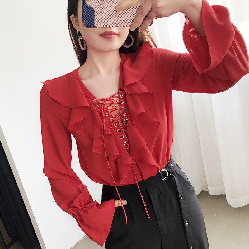 Blusas Mode Lacets Bureau Bleu Printemps Chemisier Volants Col Hauts V 2019 À Automne Femmes Dame blanc Streetwear Chemise Rouge marine PXuwkOZiT