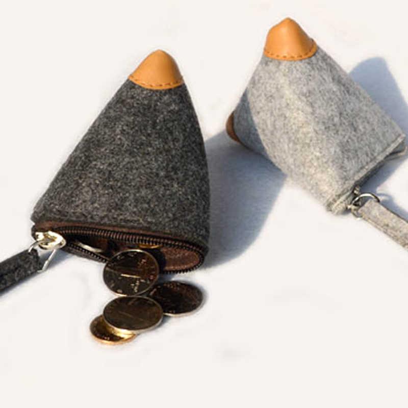 Triângulo Coin Purse Saco Da Moeda Da Bolsa Da Carteira Dos Homens Das Mulheres de Lã Com Zíper Carteiras Bolsas frete grátis