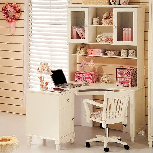 White Computer Desks With Shelf Solid Wood Comuer Table Student Desk Office Corner Children
