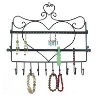 Superior Jewelry Display Wrought Iron Wall Hanging Hook Earring Rack Shelf Necklace Bracelet Container Storage Stand