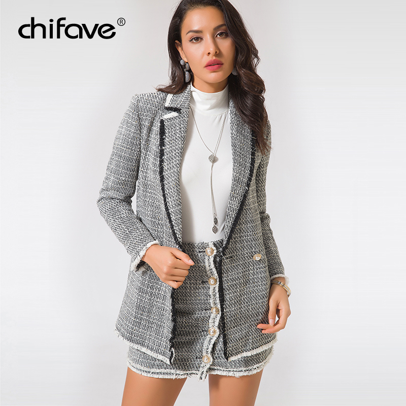 prix le plus bas 7ffa2 2cb6d Women Casual White Blazer Jacket Suit Tweed Double Breasted ...