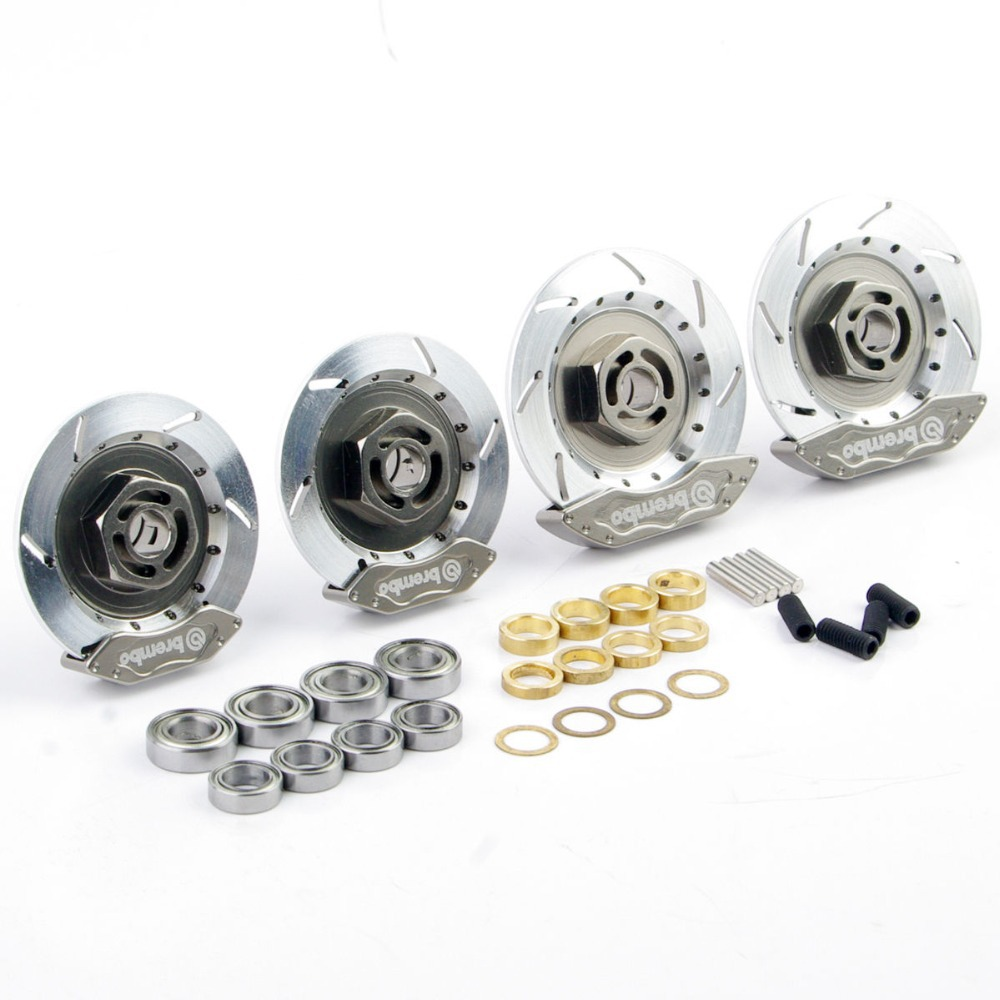 1/10 RC On-Road Racing Model Car Silver Aluminum  Alloy Wheel Rim Brake Disc HSP 00145S Rc Car Parts & Accessories 02023 clutch bell double gears 19t 24t for rc hsp 1 10th 4wd on road off road car truck silver