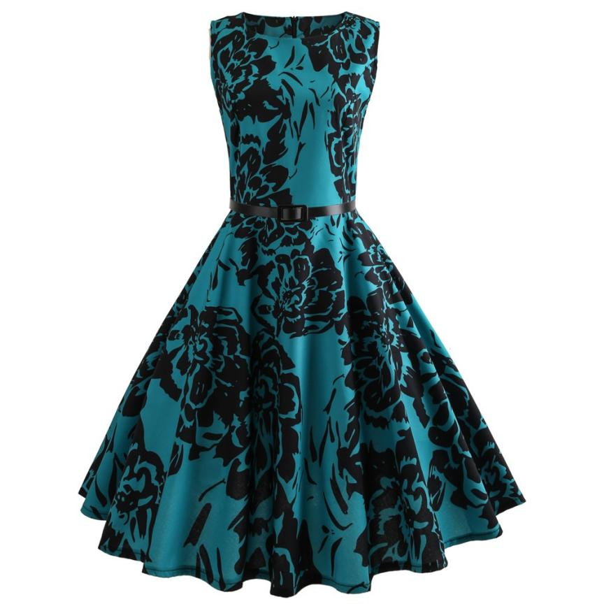 Big Floral Printing Bodycon Sleeveless Dress Belt Zipper Back Casual Party Prom Swing Mid Calf Dress O Neck Empire Dresses-12