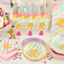 PATIMATE Unicorn Party Paper Plates Cups Napkins Birthday Disposable Tableware Sets Baby Shower Kids Event Supplies
