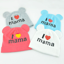 I love mama print newborn baby boys girls winter hat cap baby crochet bonnet
