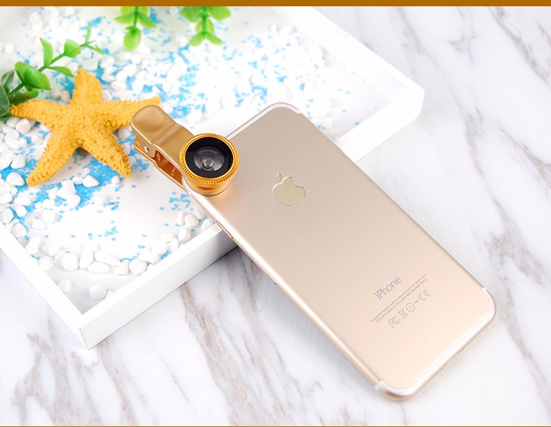 New Fish Eye lens,Wide Angle + Clear Macro Lens For Iphone 5s 6 7 Universal 3 in 1 Phone Camera Len For Sansung Huawei Sony HTC 16