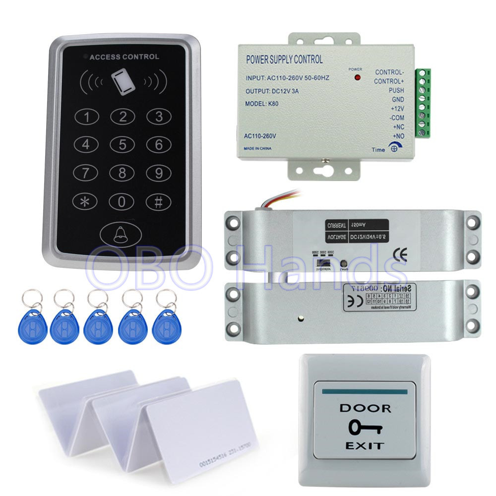 Full set kit of RFID access control card reader T11 digital lock+electric control lock+power supply+exit button+10pcs key cards access control systems proximity card waterproof standalone access control power supply magnetic lock exit button 10pcs rfid key