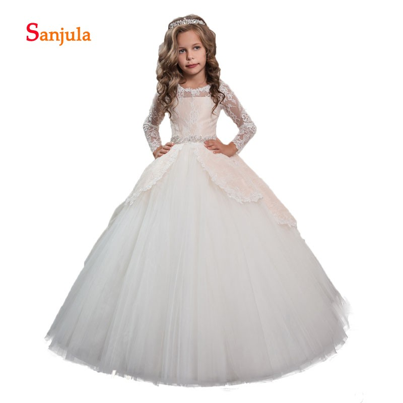 Puffy Ball Gown Little Princess   Flower     Girls     Dresses   Lace Long Sleeve Beaded Peplum Charming   Girls   Holy Communion   Dresses   D117