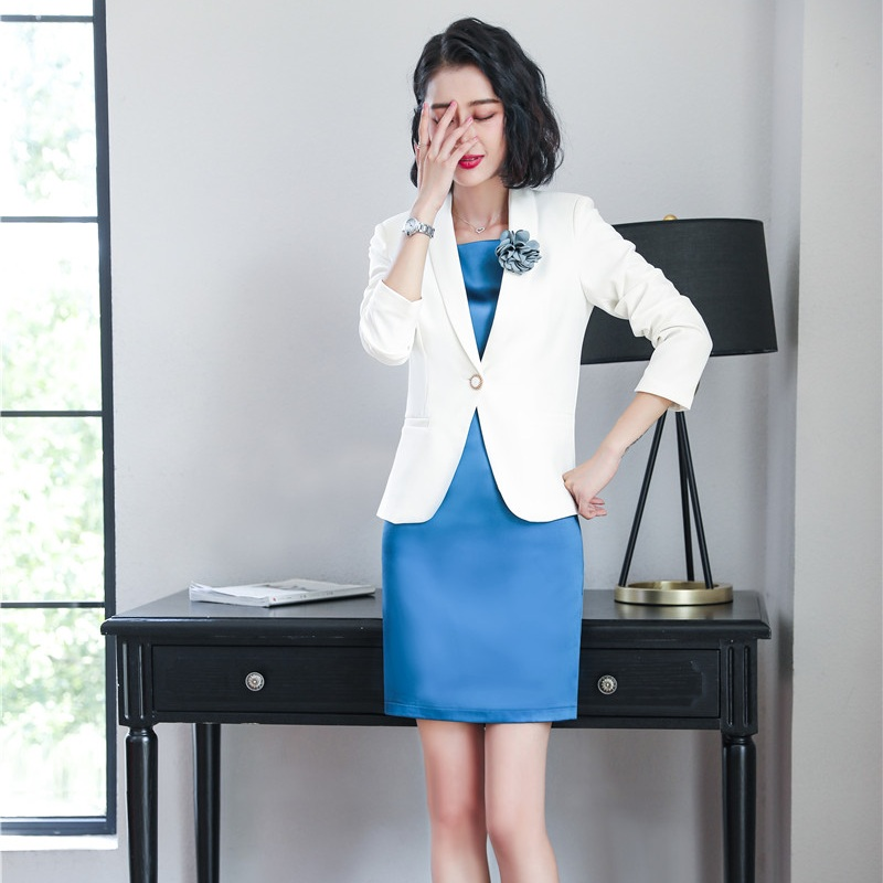 Strong-Willed Fashion Ladies Dress Suits For Women Business Suits White Blazer And Jacket Sets Office Uniform Style corsage Flower Included Dress Suits Suits & Sets