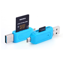Micro USB Data interface Connector 2 in 1 SD TF Card Reader Micro USB OTG Adapter for Samsung xiaomi Android Phone PC Computer