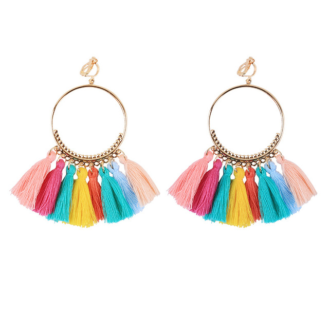 Bohemian Long Tassel Clip On Earrings No Pierced for Women Vintage Round Trendy Cotton Rope Fringe 2018 Fashion Jewelry Ear Clip