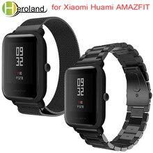 Купить с кэшбэком Strap for Xiaomi Huami Amazfit Bip Youth Smart Watch 20mm Bracelet Wrist Band for Amazfit Milanese Loop Metal Stainless Steel
