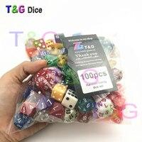 Случайные 100 шт./компл. многогранные Пластиковые забавные кубики с творческим цветом/стиль Наслаждайтесь досугом/Праздничная Вечеринка игр...