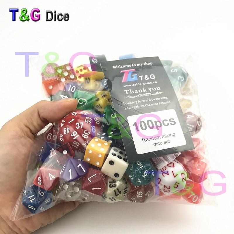 Al azar 100 unids/set poliédrico de plástico divertido dados con creativo Color/estilo disfrutar de tiempo libre/juego de fiesta de vacaciones de entretenimiento