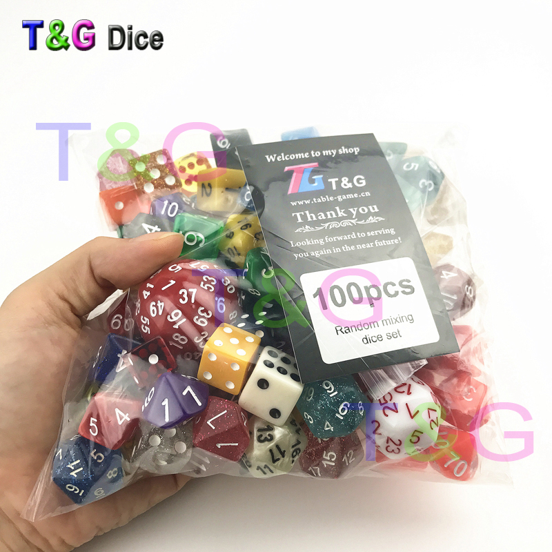 Random 100 Pcs/set Polyhedral Plastic Fun Dices with Creative Color /style Enjoy Leisure Time/Holiday Party Game Entertainment стоимость