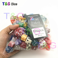 Random 100 Pcs Set Polyhedral Plastic Fun Dices With Creative Color Style Enjoy Leisure Time Holiday