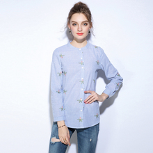 2017 New Spring Autumn Women Blouse Flower Embroidery Long Sleeve Work Shirts 5xlWomen office Tops Striped blouse for business