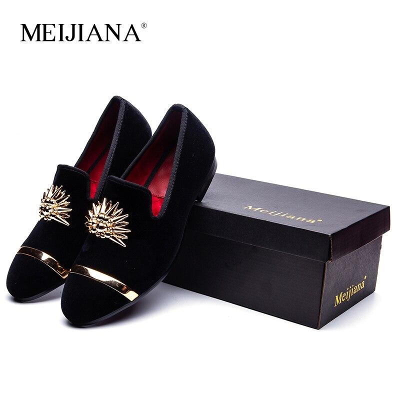 Il nuovo Oro di Modo Superiore e del Metallo della Punta Degli Uomini di Vestito di Velluto italiano mens vestito scarpe Mocassini Fatti A Mano