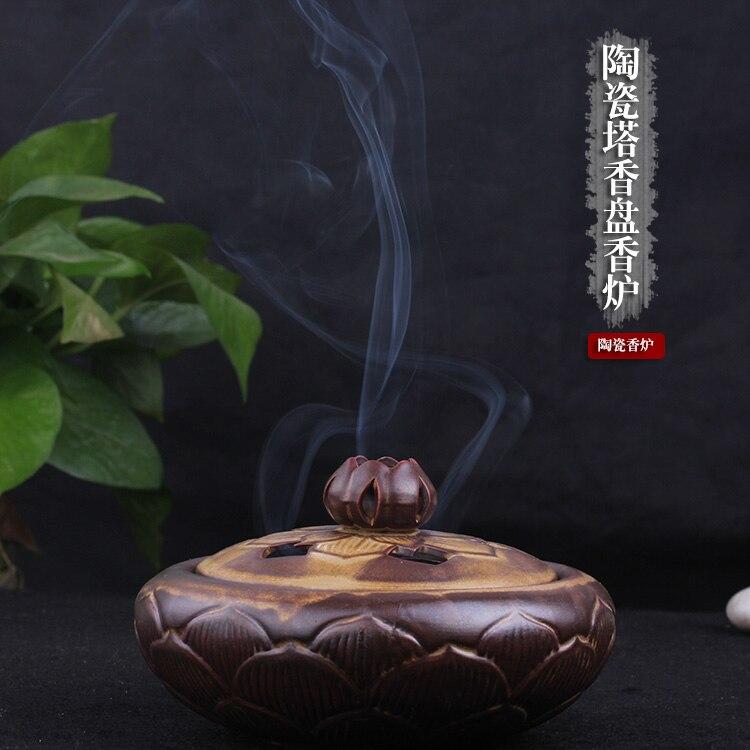 Parfum encens autel chambre petit ménage céramique encens brûleurs aromathérapie encens dans le Lotus bouddha encens