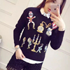 Black Sweaters 2016 Brand Women Warm High Quality Fashion European Style Autumn Embroidery Sequined Warm Sweaters