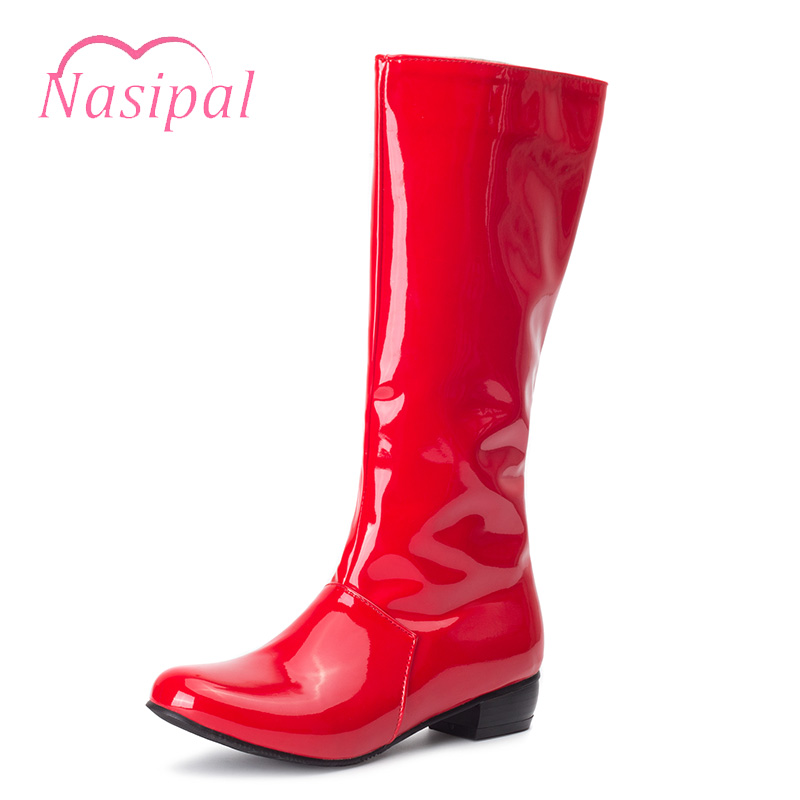 Nasipal Women Boots Patent Leather Chunky Heel Mid-calf Boots Fashion Ladies Shoes Sexy NightClub Zipper Boots Women Shoes C216 2018 new suede leather patchwork women flodover mid calf boots sexy pointy toe ladies blade heel boots zipper knight boots