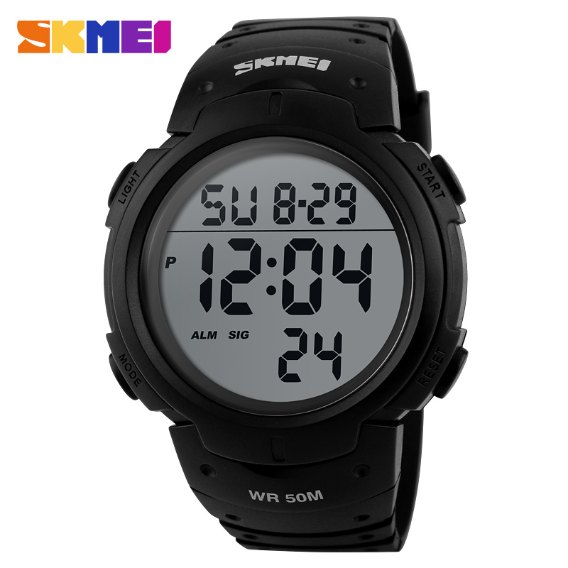 SKMEI Outdoor Sports Watches Men Running Big Dial Digital Wristwatches Chronograph PU Strap 50M Waterproof Watch