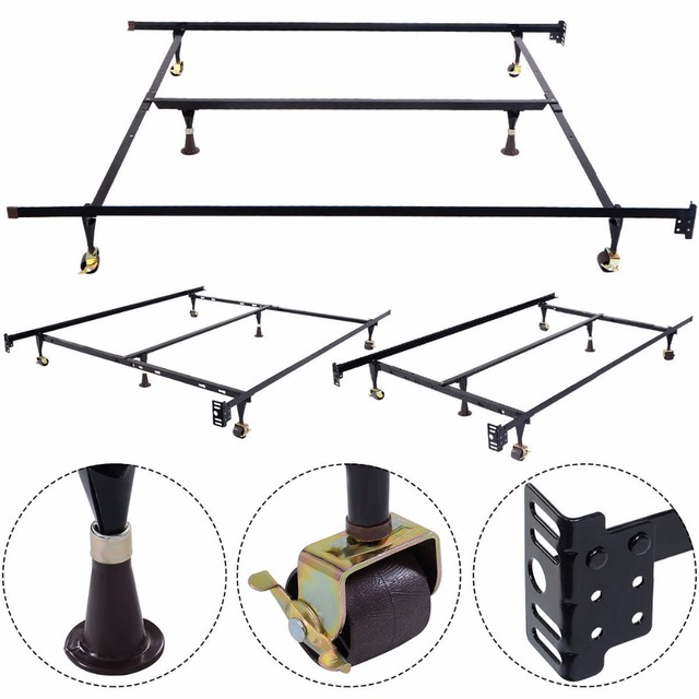 GOPLUS Metal Bed Frame Adjustable Queen Full Twin Size W Center Support HW51393