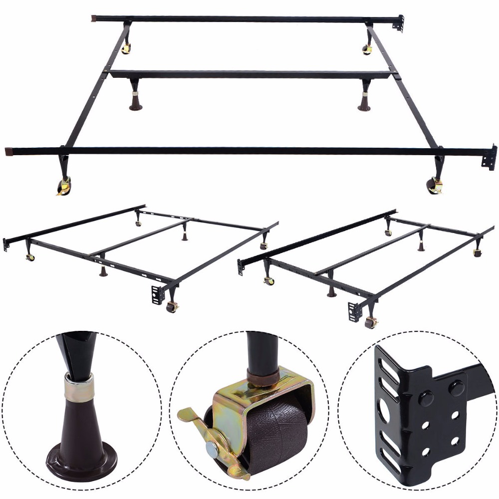 GOPLUS Metal Bed Frame Adjustable Queen Full Twin Size W/ Center Support HW51393