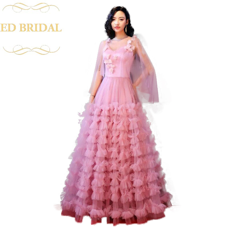 Long Pink Celebrity Ruffled Skirt Evening Dresses 2018 ...
