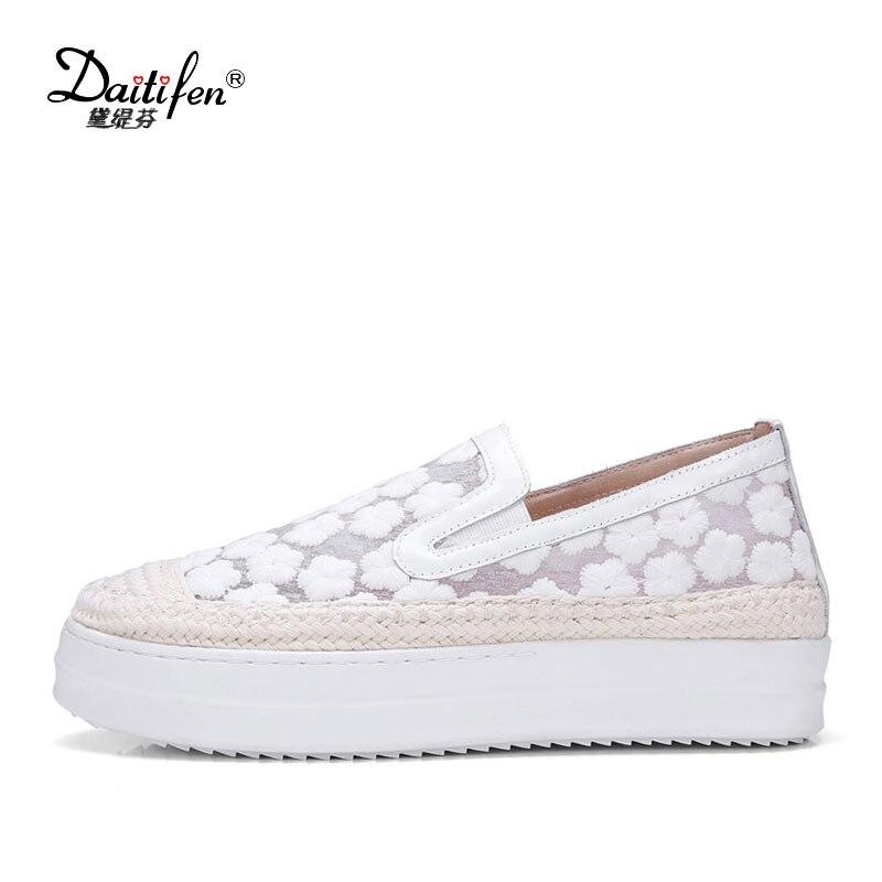white D'été Daitifen Plat Femmes Transparent Plate Chaussures En Mocassins Chanvre Femme Brodé forme Cuir Maille Pink Casual Doux SSqRTH
