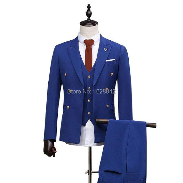 2016 Nova Chegada Dos Homens de Ternos Com Calças Azul Royal Formal vestido de Casamento Dos Homens Slim Fit Brilhante Dos Homens da Roupa Do Desgaste Estágio terno