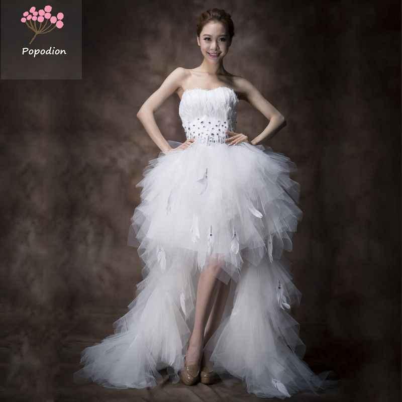 País ocidental vestidos de noiva pena branca do vestido de casamento plus size frente curta tempo de volta vestidos de casamento decoração WED90161