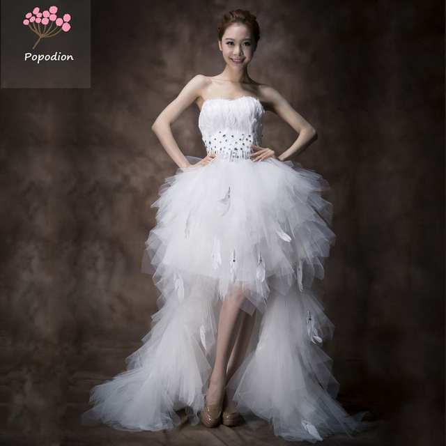 US $130.25 29% OFF|country western wedding dresses white feather wedding  dress plus size short front long back gowns wedding decoration WED90161-in  ...