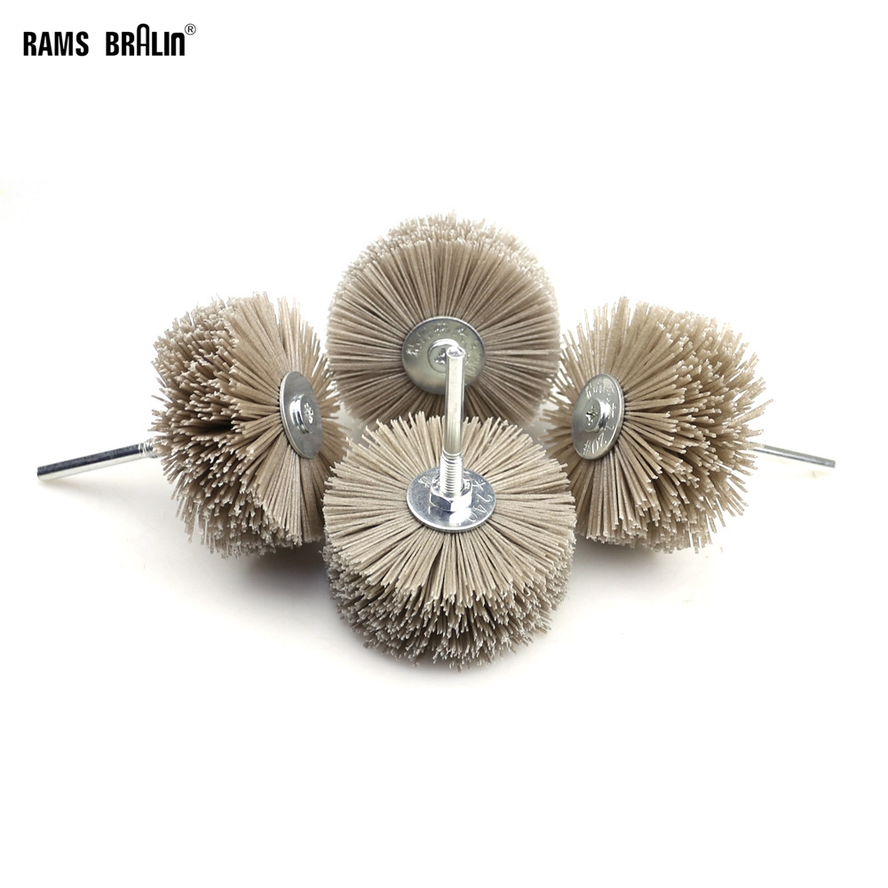 4 Pieces 85*35*6mm Drill Abrasive Wire Grinding Wheel Nylon Bristle Polishing Brush For Wood Furniture Mahogany Finish