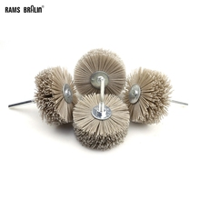 4 pieces 85*35*6mm Drill Abrasive Wire Grinding Wheel Nylon Bristle Polishing Brush for Wood Furniture Mahogany Finish
