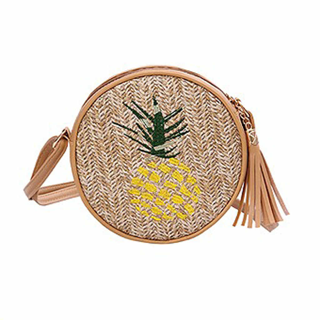 Fashion Women Retro Weave Feather Tassel Bucket Crossbody Bag  Simple Leisure Appliques Character Straw Hasp Bags travel  May 14