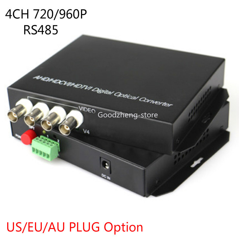 Communication Equipments 1 Pair Analytical 4-ch Video Optical Media Converter 720p/960p Cvi/ahd/tvi Rs485 Fc Port Fiber Transceiver