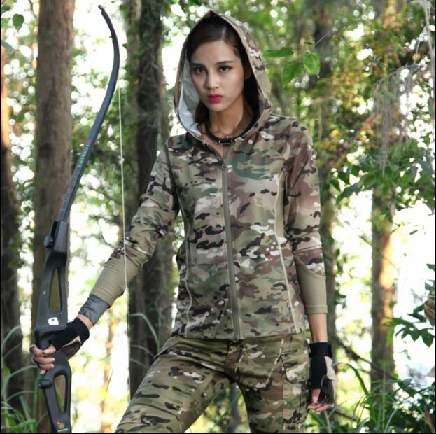 Camouflage women Multicam jacket Scorpio Quick-drying Woodland Black military uniform long sleeve Hoodies