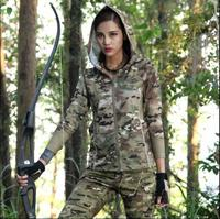 Camouflage women Multicam jacket Scorpio Quick drying Woodland Black military uniform long sleeve Hoodies