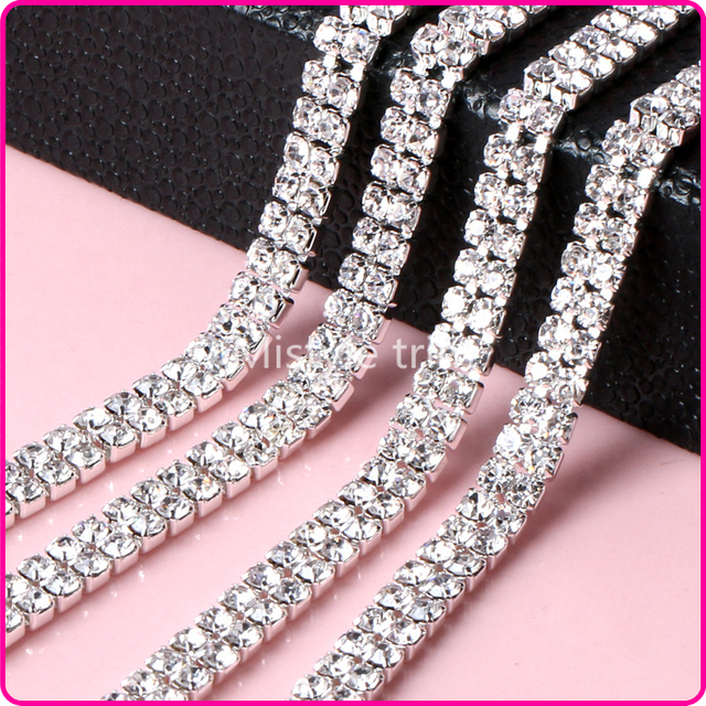 3MM Glass Rhinestone Chain Trimming Sew On Silver Base Density Trim Strass  Crystal Cup Chains For Dress d1f31998ba4b