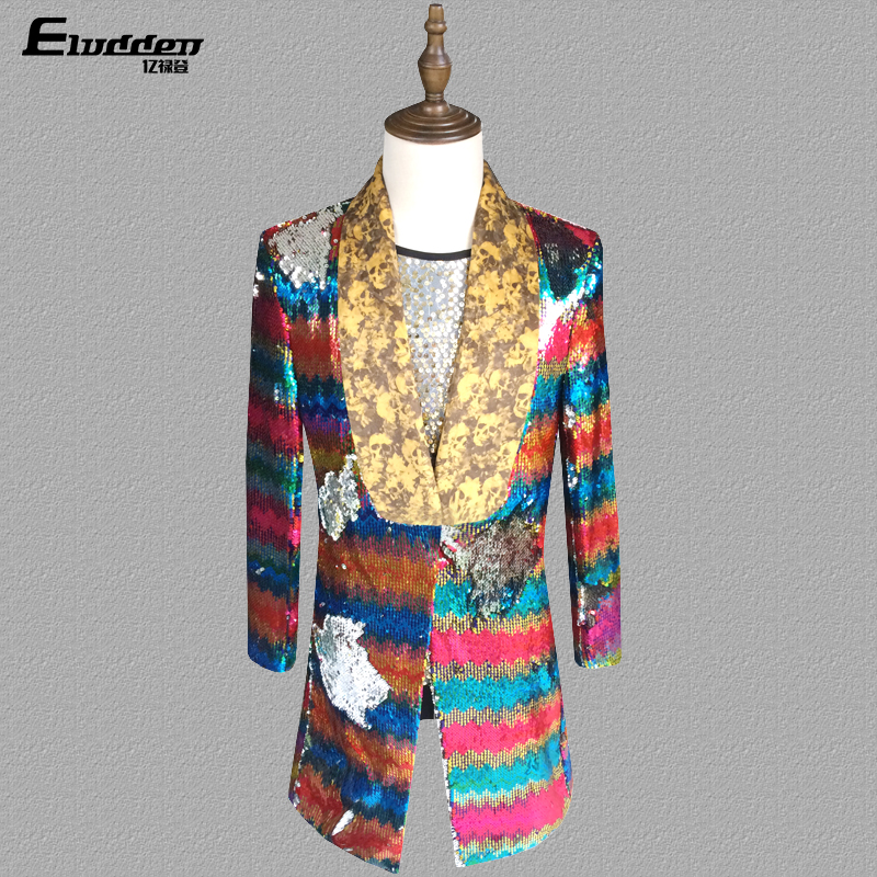 Mens Sequins Gold Bling Rainbow Colors Long Suit Blazer Military Bar Coat Dress Formal Dress Show DJ Club