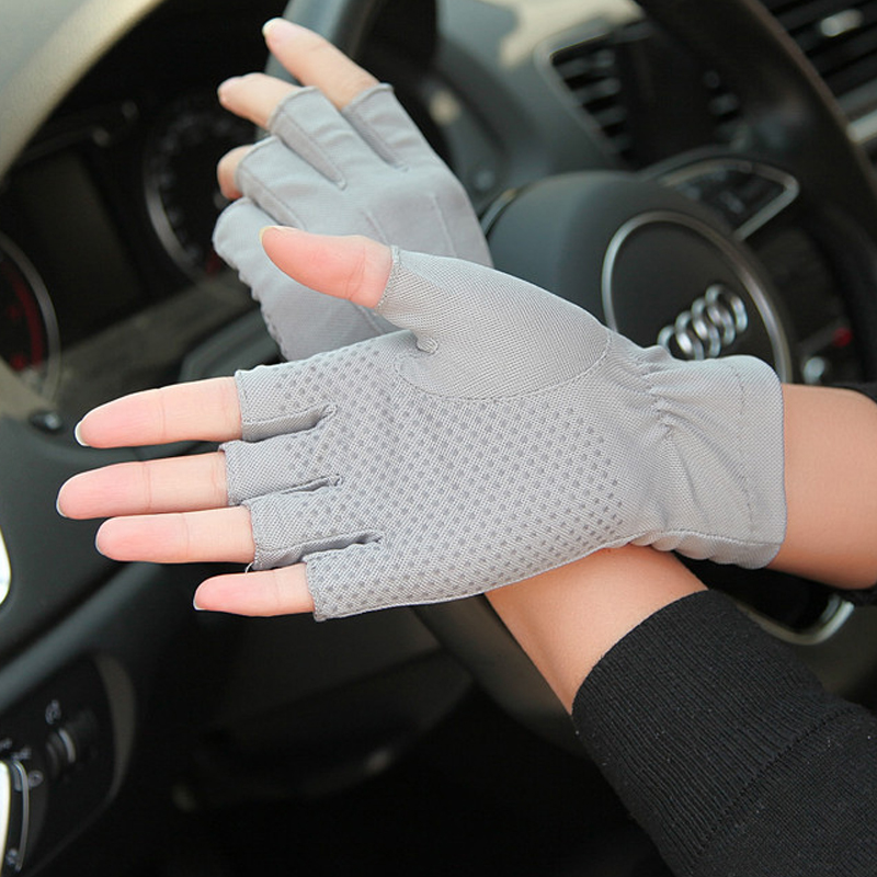 1pair Car Drive Half Finger Gloves Thin Auto Drive Cycling Gloves Non-Slip Men Summer Anti UV Breathable Sweat Absorption Gloves