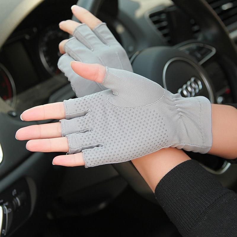 1pair Car Drive Half Finger Gloves Thin Auto Drive Cycling Gloves Non-Slip Men Summer Anti UV Breathable Sweat Absorption Gloves