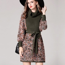 2017 Autumn Knitted High Street Empire Elegant A line Slim Patchwork Lantern Sleeved New Above Knee