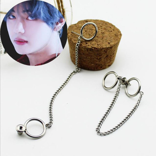 BTS (Bangtan Boys) V's Double Ring Chain Earrings