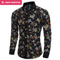 2016 Dropshipping Camisa Masculina 2017 Men's Fashion Slim Fit Casual Shirt Long Sleeve Shirts Printing Men Shirt, Asian Size