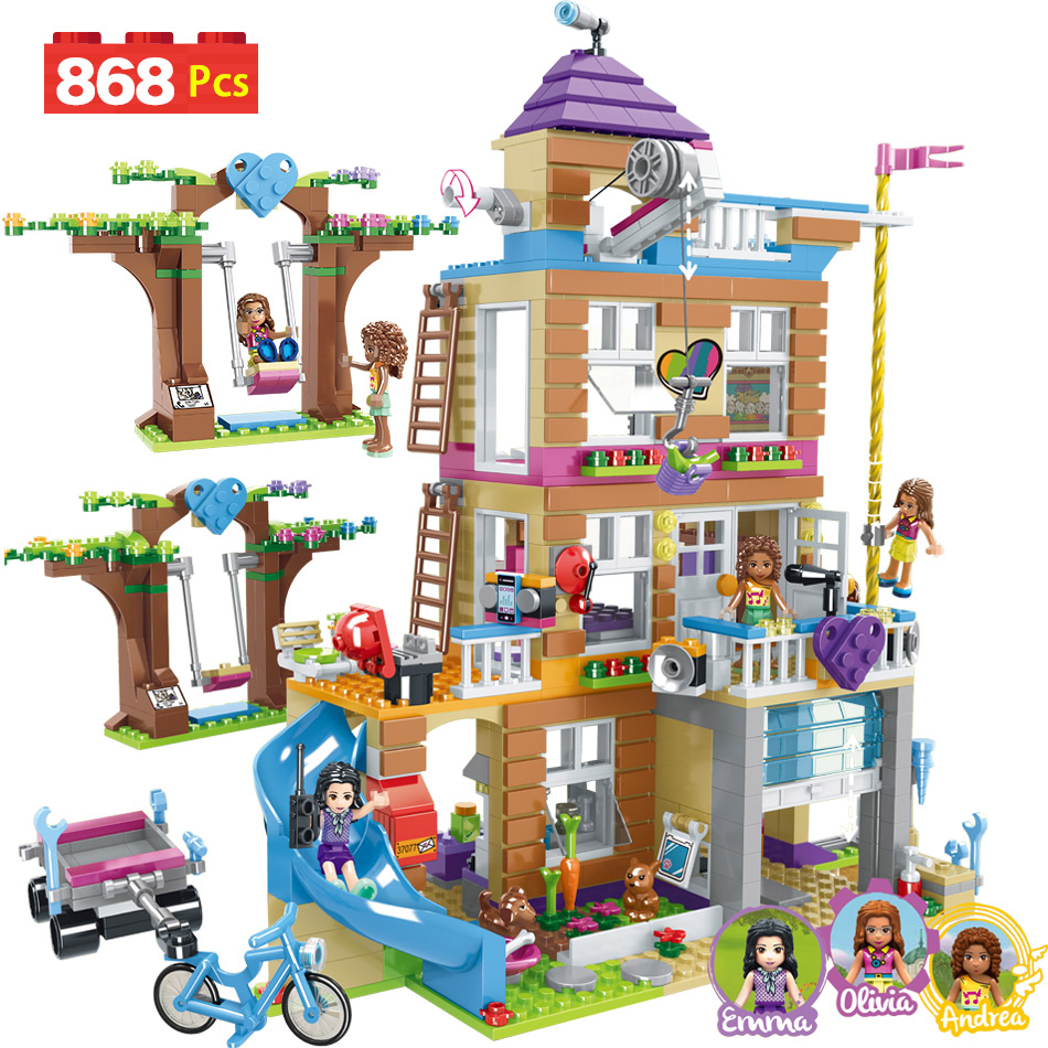 868pcs Building Blocks Girls Friendship House Model Stacking Bricks Compatible LegoING Girls Friends Figures Kids Toys